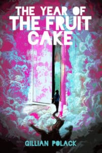 Cover for THE YEAR OF THE FUIT CAKE, depiciting a shadowed figure in front of a partially opened door, with a vaporwave cloud background.